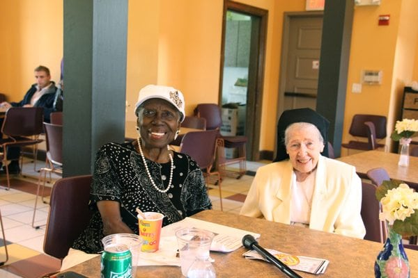 Sr. Maria Espiritu drops into the cool Cafe and meets former student, Larraine Lucan, a Rock Castle graduate from 1949!