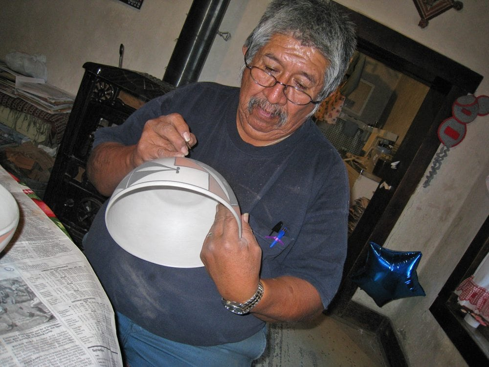 During the Western Pilgrimage, Associates got a chance to see a potter at work decorating a bowl.